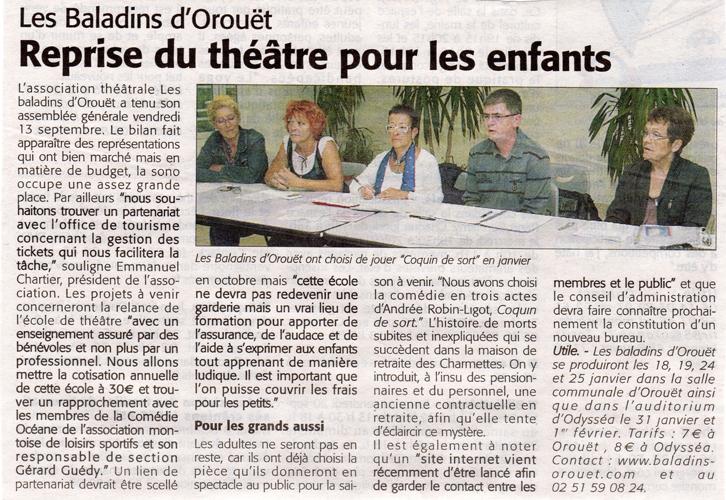Le courrier Vendéen du 19/09/2013