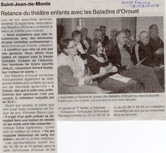 Ouest France du 18/09/2013