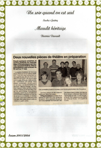 Saison 2003-2004 - Article 1